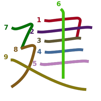 stroke order diagram of kanji '建'