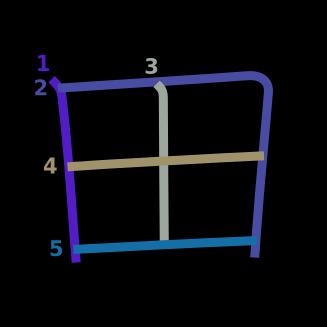 stroke order diagram of kanji '田'