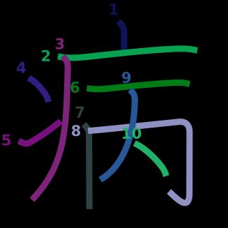 stroke order diagram of kanji '病'