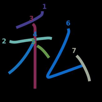 stroke order diagram of kanji '私'