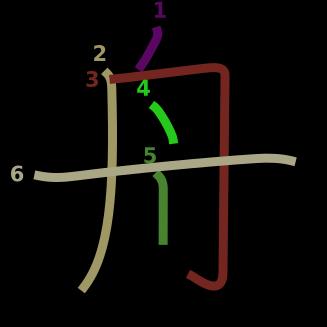 stroke order diagram of kanji '舟'