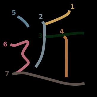 stroke order diagram of kanji '近'